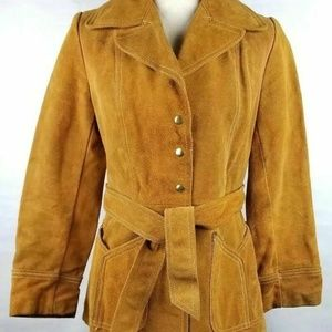 Cowhide Brown Snap Button Front Long Sleeve Jacket